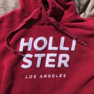 Hollister Logo Red Burgundy Hoodie Size Small